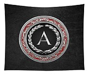 A - Silver Vintage Monogram On Black Leather Tapestry