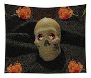 A Skull In The Dark Pop Art Tapestry