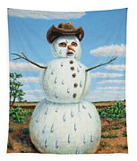A Snowman In Texas Tapestry