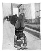 California Girl Imbibes Soda Upside Down Tapestry