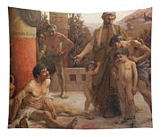 A Spartan Points Out A Drunken Slave To His Sons Tapestry