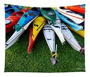 A Stack Of Kayaks Tapestry
