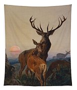 A Stag With Deer In A Wooded Landscape At Sunset Tapestry