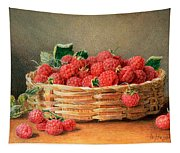 A Still Life Of Raspberries In A Wicker Basket  Tapestry