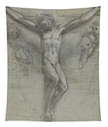 A Study Of Christ On The Cross With Two Tapestry