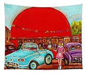 A Sunny Day At The Big Oj- Paintings Of Orange Julep-server On Roller Blades-carole Spandau Tapestry