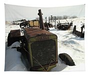 A Tractor In The Snow Tapestry