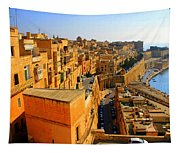 A View Of Valletta's Waterfront Tapestry