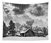 A Winter Sky - Oil Bw Tapestry
