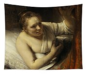 A Woman In Bed Tapestry