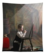 A Young Boy Praying With A Light Beam Tapestry