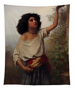A Young Gypsy Woman With Tambourine  Tapestry