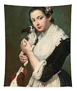A Young Lady With Two Dogs Tapestry