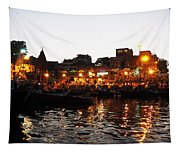 Aarti At Dashashwamedh Ghat 2 Tapestry