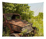 Abandoned Car Tapestry