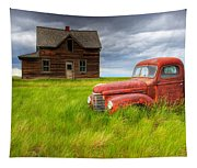 Abandoned Homestead House And Red Tapestry