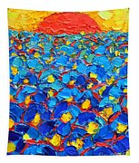 Abstract Blue Poppies In Sunrise -original Oil Painting Tapestry