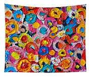 Abstract Colorful Flowers 1 - Paint Joy Series Tapestry