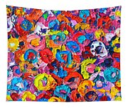 Abstract Colorful Flowers 3 - Paint Joy Series Tapestry