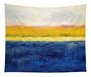 Abstract Dunes With Blue And Gold Tapestry