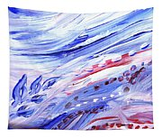 Abstract Floral Marble Waves Tapestry
