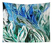 Abstract Floral Sky Reflection Tapestry