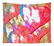 Abstract Hearts 16 Tapestry