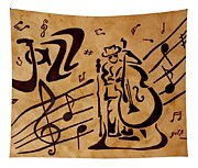 Abstract Jazz Music Coffee Painting Tapestry