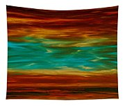 Abstract Landscape Art - Fire Over Copper Lake - By Sharon Cummings Tapestry