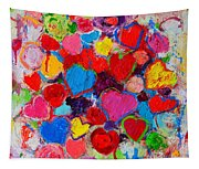 Abstract Love Bouquet Of Colorful Hearts And Flowers Tapestry