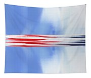 Abstract Red White And Blue Silver Rocket Square Tapestry