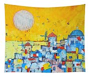 Abstract Santorini - Oia Before Sunset Tapestry