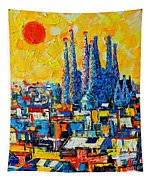 Abstract Sunset Over Sagrada Familia In Barcelona Tapestry