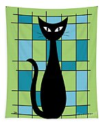 Abstract With Cat In Green Tapestry