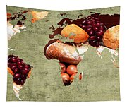 Abstract World Map - Harvest Bounty - Farmers Market Tapestry