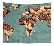 Abstract World Map - Mixed Nuts - Snack - Nut Hut Tapestry
