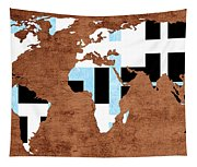 Abstract World Map - Which Way Is Up - Painterly Tapestry