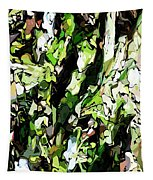 Abstraction Green And White Tapestry