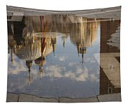Acqua Alta Or High Water Reflects St Mark's Cathedral In Venice Tapestry