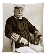 Admiral Of The Navy George Dewey Seen In 1899 On The Uss Olympia Tapestry