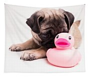 Adorable Pug Puppy With Pink Rubber Ducky Tapestry