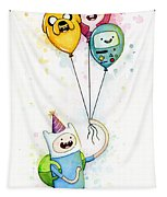 Adventure Time Finn With Birthday Balloons Jake Princess Bubblegum Bmo Tapestry by Olga Shvartsur