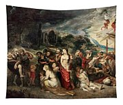 Aeneas And His Family Departing From Troy Tapestry