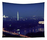 Aerial Night View Of Washington Dc Tapestry