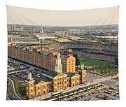 Aerial View Of A Baseball Stadium Tapestry