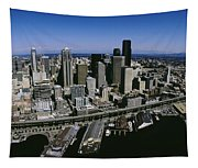 Aerial View Of A City, Seattle Tapestry