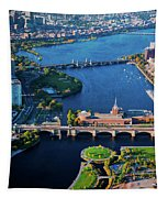 Aerial View Of Bridges Crossing Charles Tapestry