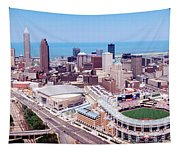 Aerial View Of Jacobs Field, Cleveland Tapestry