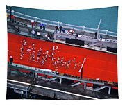 Aerial View Of People Running Tapestry