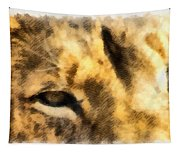 African Lion Eyes Tapestry